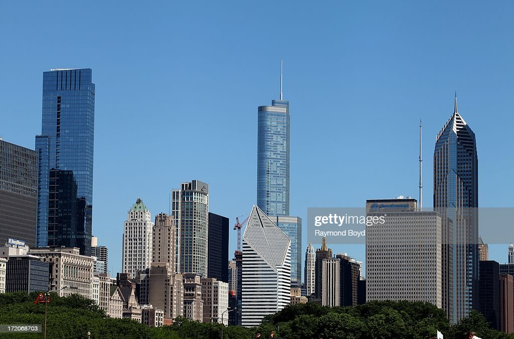 Partial view of Chicago Skyline as photographed from Grant Park's Hutchinson Field in Chicago Illinois on JUNE 28 2013