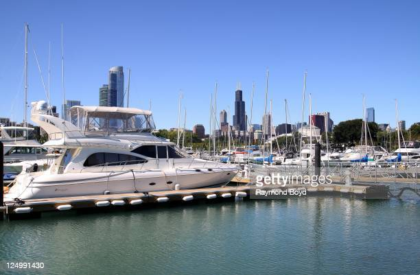 Partial view of Chicago Skyline serves as a backdrop as boats dock in Burnham Harbor in Chicago Illinois on SEPT 07 2011