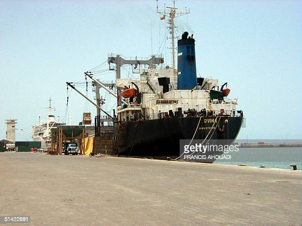 A partial view of Cotonou port 15 April 2001 The fate of 250 presumed child slaves aboard a ship off the west African coast remained uncertain today...