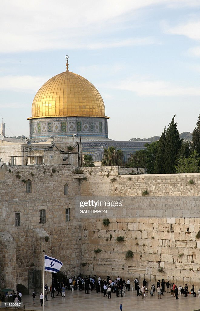 A partial view of Jerusalem's Old City showing the Dome of the Rock mosque at the alAqsa compound know by the Israelis also as Temple Mountain and...