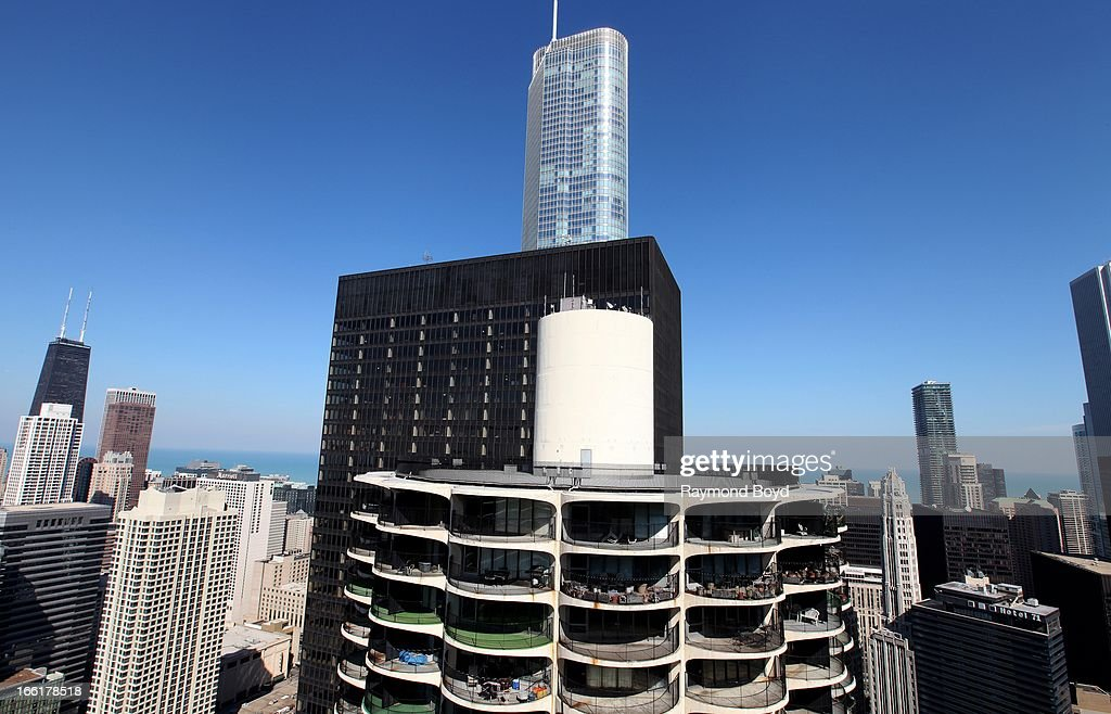 A partial view of Marina City East Tower, IBM Building, Trump International Hotel And Tower and the Chicago River looking East, as photographed from the roof of Marina City Towers in Chicago, Illinois on APRIL