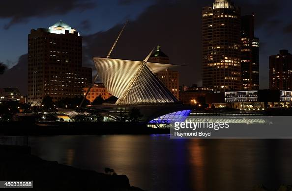 Partial view of Milwaukee Skyline at night on September 20 2014 in Milwaukee Wisconsin