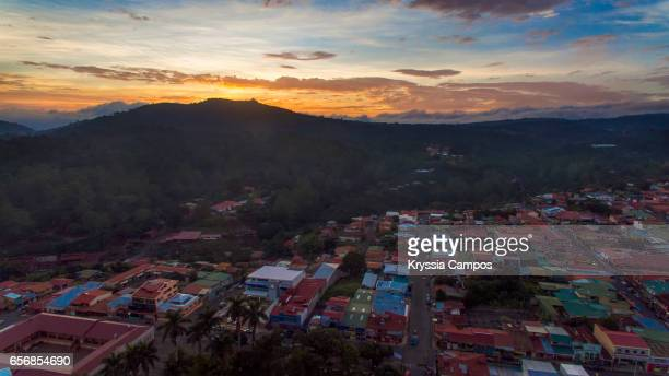 Partial view of sunset at town of Naranjo  - Costa Rica