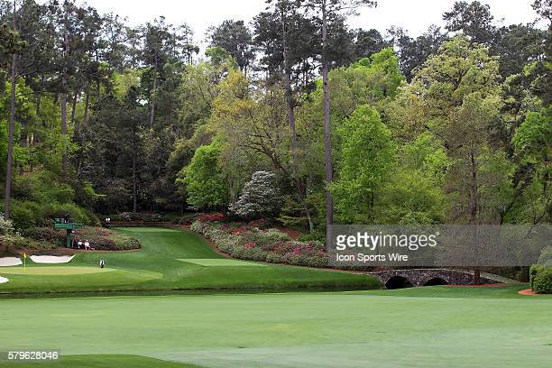 A partial view of the 12th green as well as the 13th tee and the Nelson bridge during the practice round for the 2015 Masters Tournament at the...