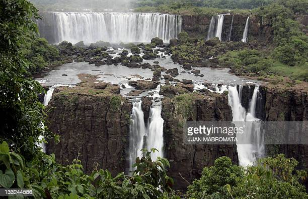 Partial view of the Argentine side of Iguazu Falls and San Martin island from the Brazilian side of the Iguazu River near the Brazilian city of Foz...