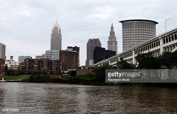 Partial view of the Cleveland Skyline as photographed from the Superior Viaduct on June 19 2015 in Cleveland Ohio
