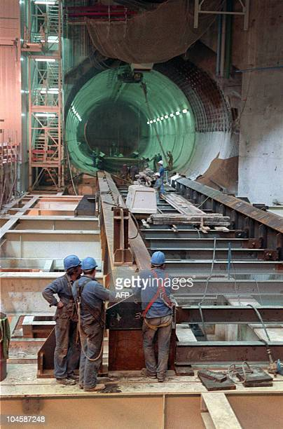 Partial view of the construction works being undertaken at Sangatte near Calais 20 July 1988 as part of the first strech of the tunnel under the...
