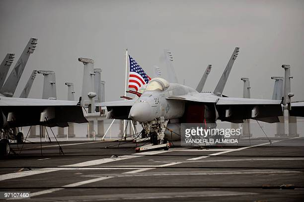 Partial view of the flight deck of the USS Carl Vinson Nimitz class aircraft supercarrier at anchor in Guanabara Bay Rio de Janeiro Brazil on...
