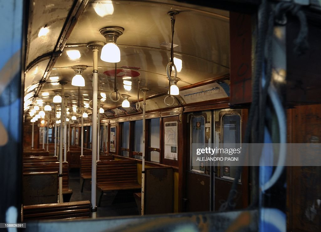 Partial view of the interior of one of the historic wagons La Brugeoise of subway Line A, which is expected to be close soon following a decision by city mayor Mauricio Macri to replace the fleet with Chinese-made wagons, in Buenos Aires, on December 29, 2012. Line A was the first subway line to work in the southern hemisphere and its trains are among the ten oldest still working daily. The La Brugeoise wagons were constructed between 1912 and 1919 by La Brugeoise et Nicaise et Delcuve in Belgium.