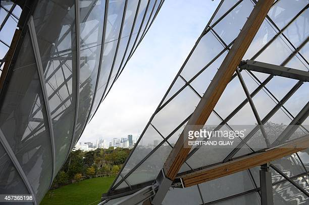 Partial view of the Louis Vuitton Foundation designed by CanadianAmerican architect Frank Gehry in the Bois de Boulogne in Paris on October 17 2014...