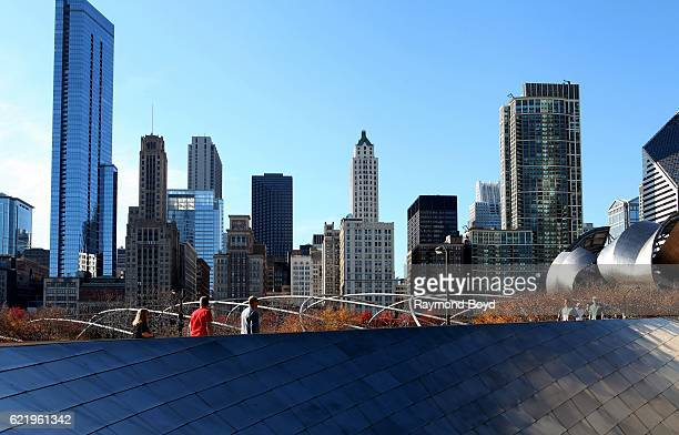 Partial view of the Michigan Avenue skyline is seen as Chicagoans walk across the Frank Gehrydesigned BP Bridge into Millennium Park Park in Chicago...