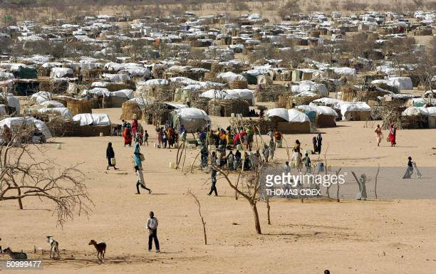 Partial view of the Sudan's refugees camp of Iridimi where 15000 refugees have fled the Darfur region where rebels attacked the population 26 June...