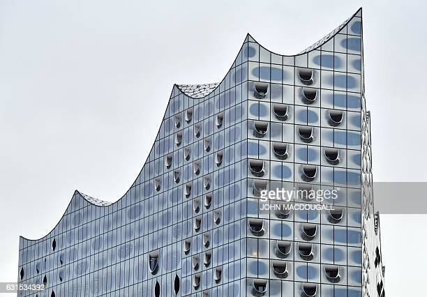 Partial view shows the roof of the Elbphilharmonie concert hall on January 12 2017 in Hamburg northern Germany on the morning after the opening...
