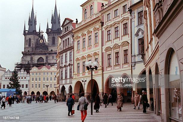 Partial view taken 08 December 1988 of Prague's Church of Our Lady before Tyn and the Old Town Square AFP PHOTO DANIEL JANIN