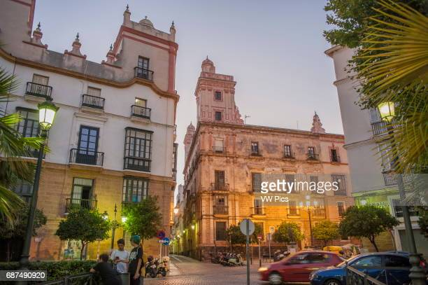 Partial views of the casa de las cinco torres and the casa de las cuatro torres former palatial houses which are located on the edge of the Plaza de...