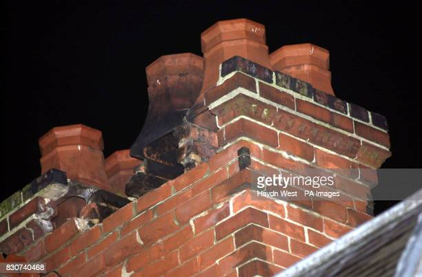 A partially collapsed chimney stack belonging to Teresa Christian in Melton Mowbray after a minor earthquake measuring 38 on the Richter scale struck...