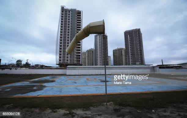 A partially constructed helipad stands near the Olympic Golf Course on March 13 2017 in Rio de Janeiro Brazil Seven months after the Rio hosted the...