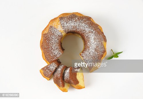 partially sliced marble bundt cake : Stock Photo