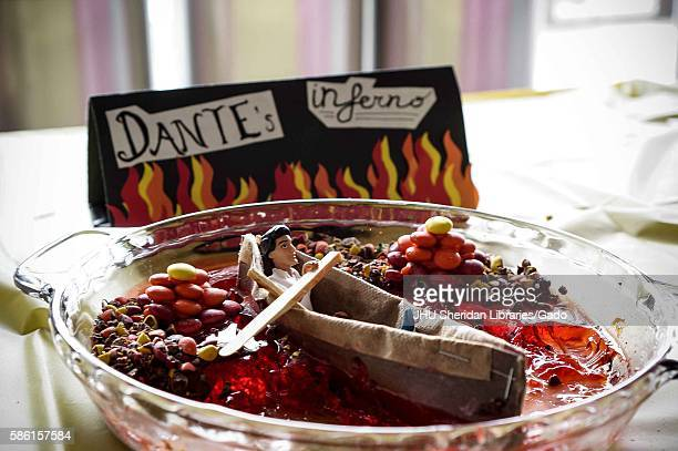A partiallyeaten Dante's Inferno dessert at the 2014 Edible Book Festival a literary cake competition for students on the Homewood campus of the...