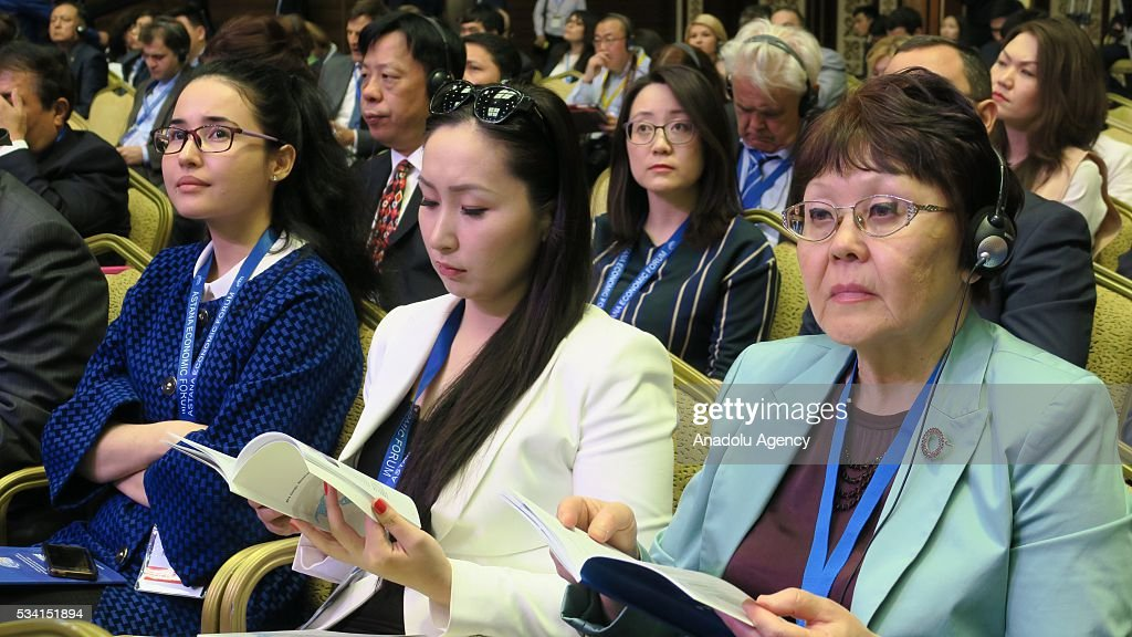 Particapants listen speeches during Astana Economic Forum in Astana, Kazakhstan on May 25,2016.