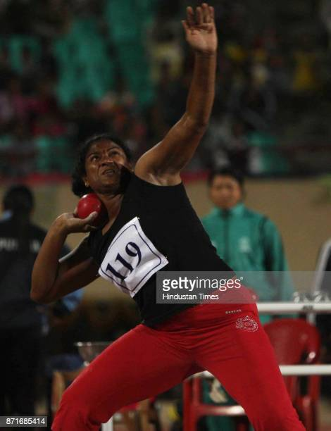 A particiapant competing at the shot put atheletic event in the Birsa Munda Main Athletic Stadium at Hotwar in the 34 th National Game in Ranchi