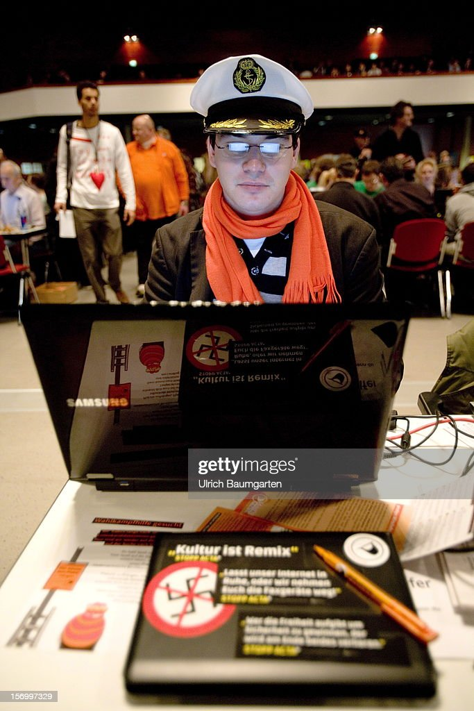 Participant at the Pirate Party National Convention at RuhrCongress on November 24, 2012 in Bochum, Germany. German Pirates have a lot to achieve as the party is flagging in the polls and facing national elections in less than a year.