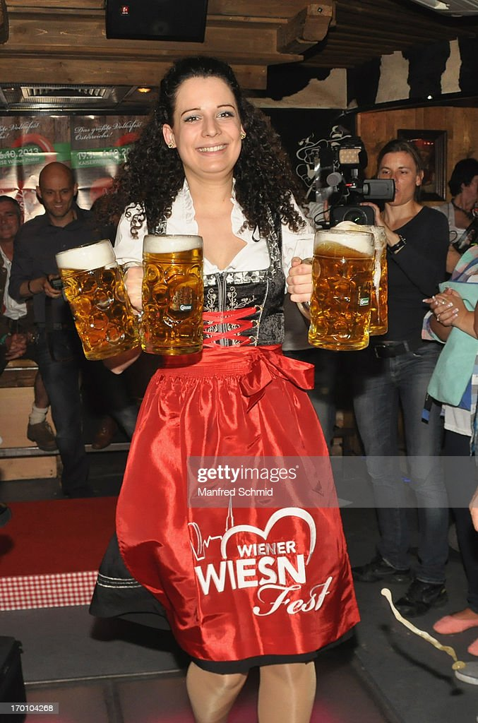 A participant attends the beauty competition 'Miss Wiener Wiesn-Fest 2013' at Bettel-Alm on June 6, 2013 in Vienna, Austria.