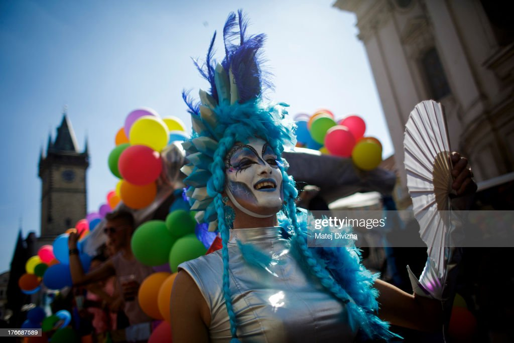 A participant attends the third Prague Pride March on August 17, 2013 in Prague, Czech Republic. Several thousand people marched through city centre in support of Lesbian, Gay, Bisexual and Transgenders (LGBT) rights.