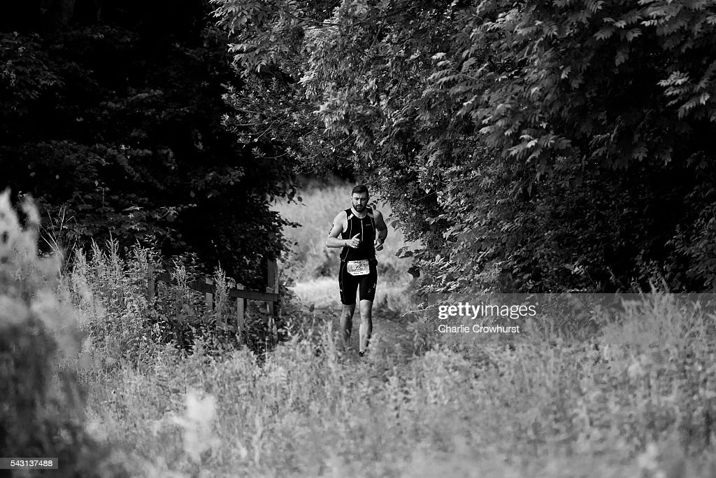 A participant competes in the run leg during the Ironman 70.3 UK at Exmoor National Park on June 26, 2016 in Somerset, England.