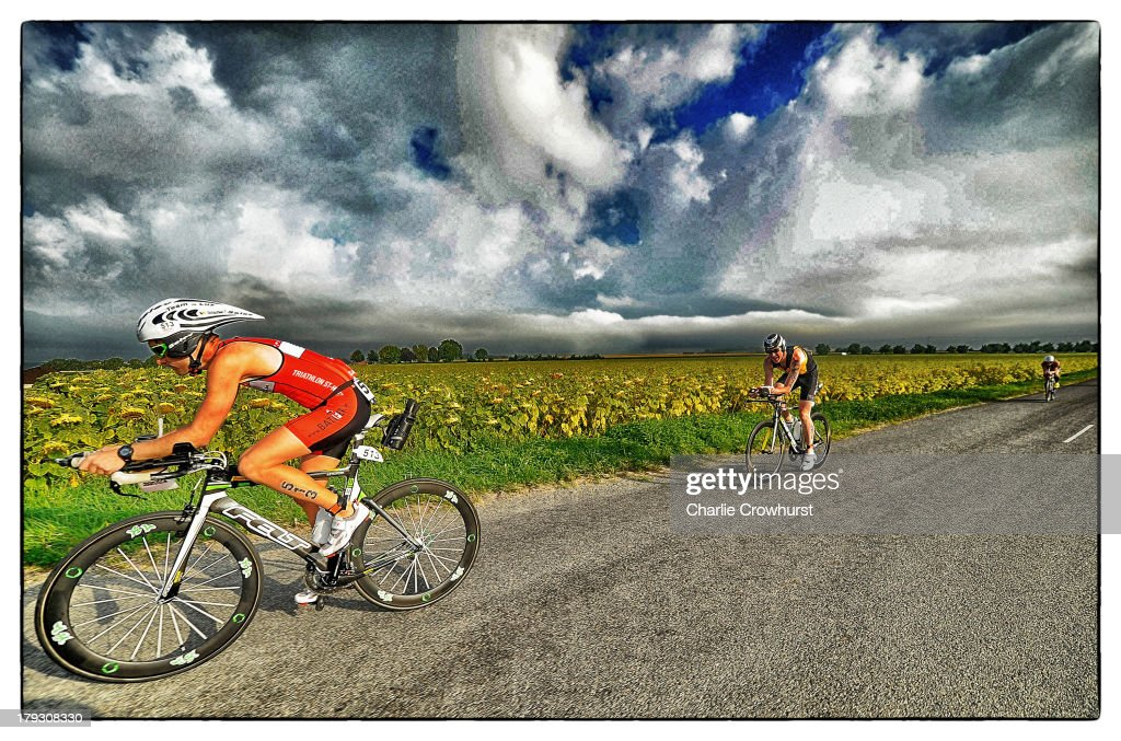 A participant cycles through the french country side during the Challenge Triathlon Vichy on September 01, 2013 in Vichy, France.