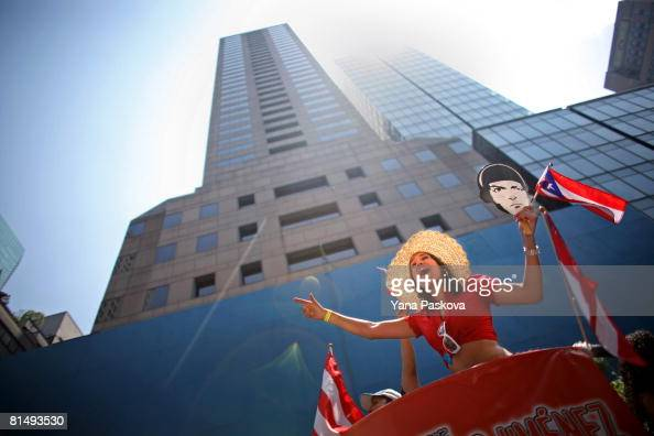 A participant dances on a float in the annual Puerto Rico Day Parade June 8 2008 in New York City The parade honoring Puerto Ricans is an annual New...