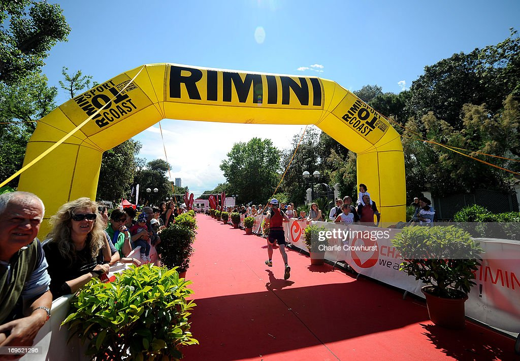 Participant enters the home straight during the Challenge Family Triathlon Rimini on May 26, 2013 in Rimini, Italy.