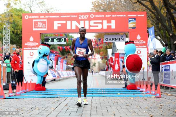 A participant finishes 42km run within the Vodafone 39th Istanbul Marathon in Istanbul Turkey on November 12 2017 It is the only course in the world...