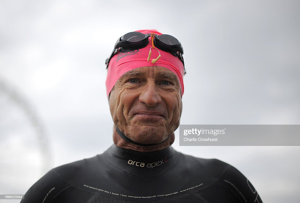 A participant gets ready for the swim during the Challenge Family Triathlon Rimini on May 26, 2013 in Rimini, Italy.