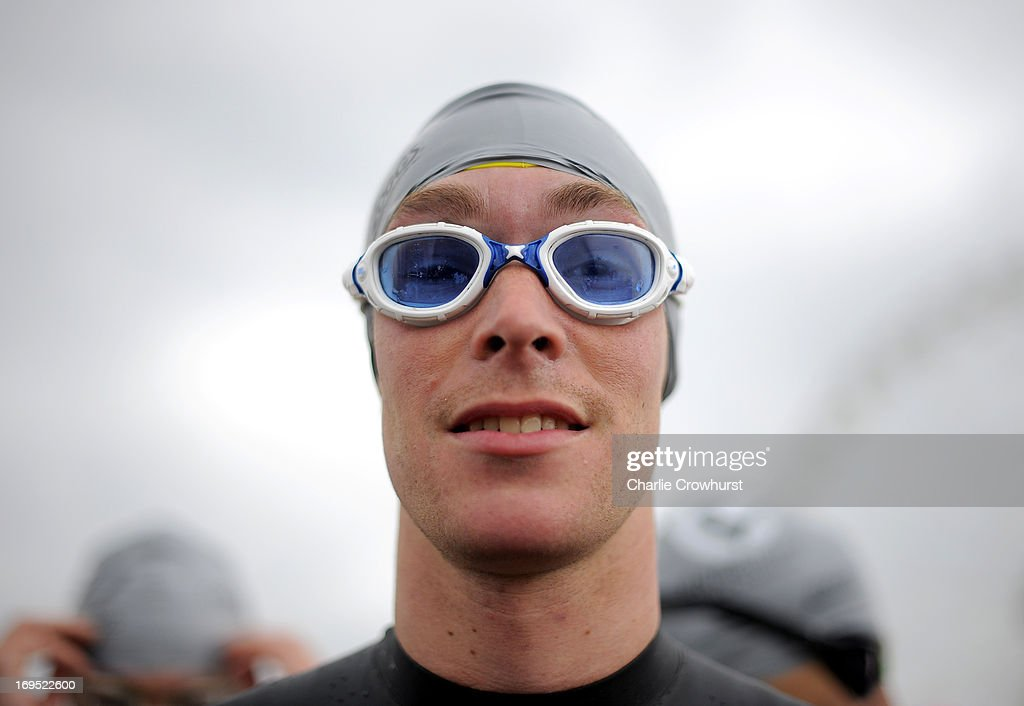 Participant gets ready for the swim during the Challenge Family Triathlon Rimini on May 26, 2013 in Rimini, Italy.