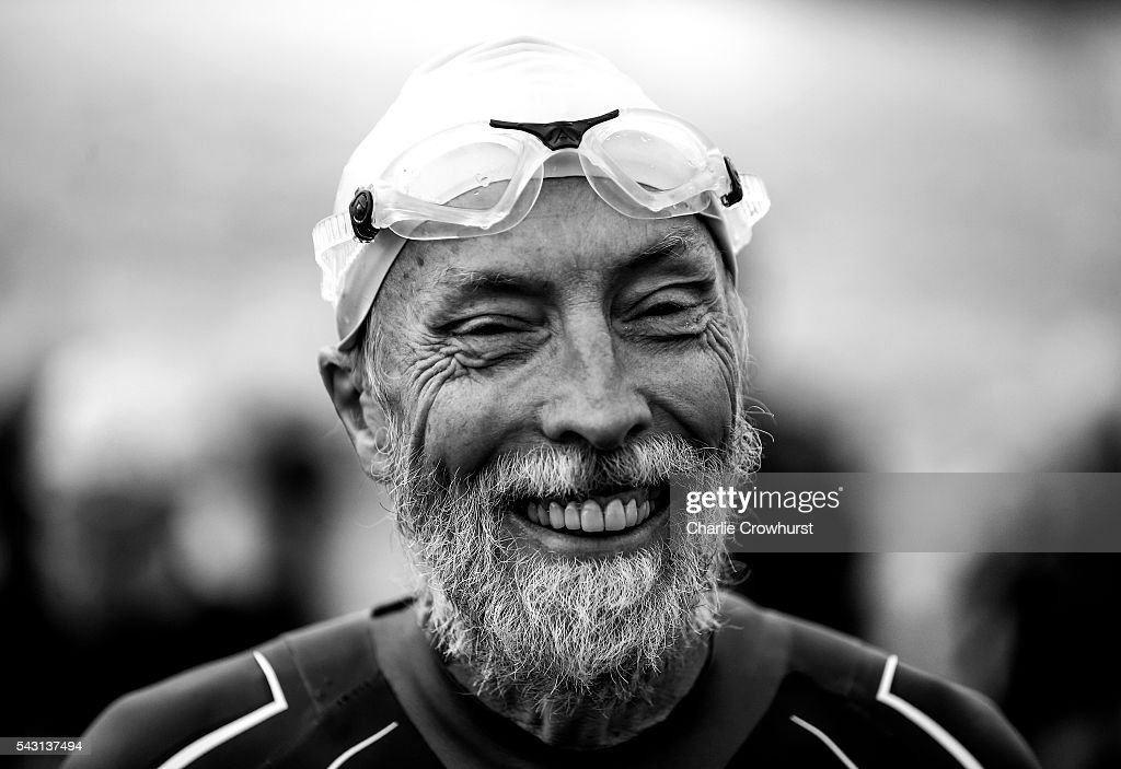 A Participant gets ready to begin the swim leg of the race during the Ironman 70.3 UK at Exmoor National Park on June 26, 2016 in Somerset, England.