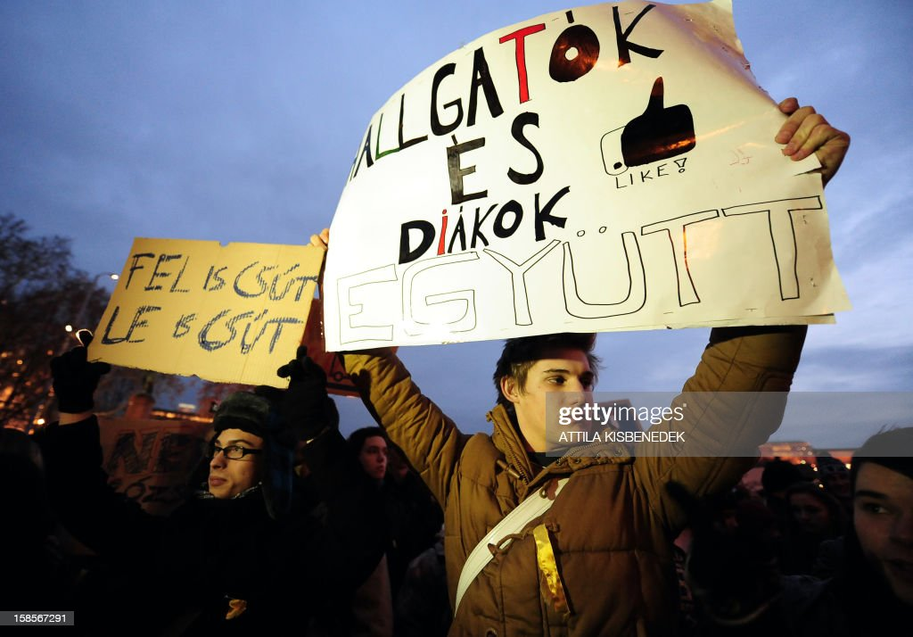 A participant holds a placard, 'Students from universities and high schools together' as around 1,000 protesters -- including pupils from over 40 schools, according to organisers -- march on December 19, 2012 through downtown Budapest in the evening chanting 'We are not stupid, we are the future.' Protests over higher education reform in Hungary spread further Wednesday, even after the government made apparent concessions to students, angry about planned tuition fees and commitments to work in Hungary. Many wore roses to symbolise what they call the 'Student Winter Rose revolution.' AFP PHOTO / ATTILA KISBENEDEK