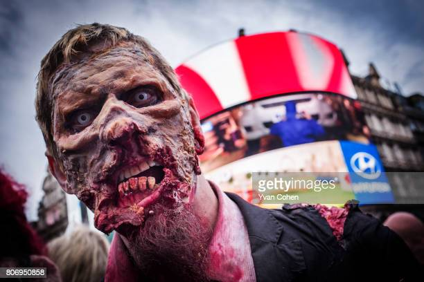 A participant in a zombie parade About a 100 zombies descended on central London to mark world Zombie day They swarmed around Picadilly Circus...