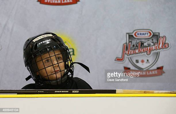 A participant in the hockey clinic waits to take to the ice during Day 2 of NHL Kraft Hockeyville at the Sylvan Lake Multiplex on September 22 2014...