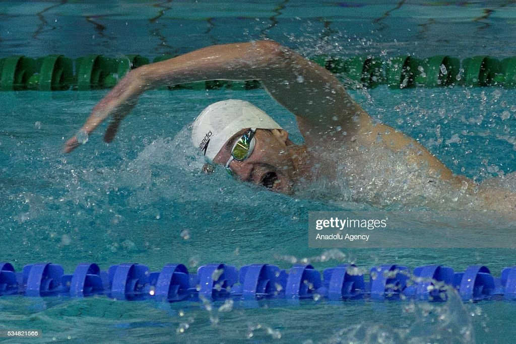A participant is seen during the swimming of the men's final World Championship in modern pentathlon at Olympic Sports Complex in Moscow, Russia, on May 28, 2016.