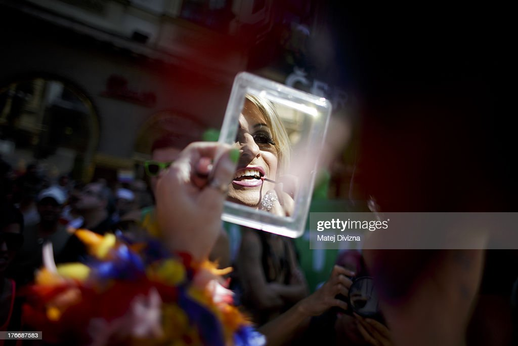A participant makes up during the third Prague Pride March on August 17, 2013 in Prague, Czech Republic. Several thousand people marched through city centre in support of Lesbian, Gay, Bisexual and Transgenders (LGBT) rights.