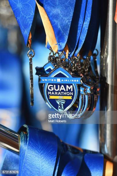Participant medals are seen during the United Airlines Guam Marathon 2017 on April 9 2017 in Guam Guam