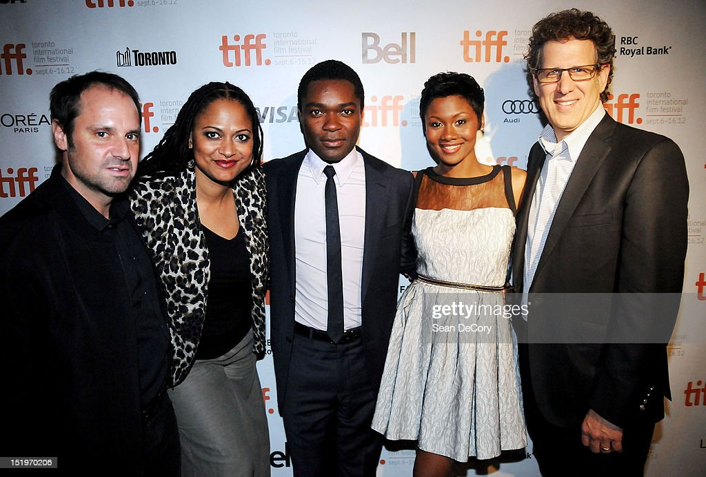 Participant Media Founder <a gi-track='captionPersonalityLinkClicked' href=/galleries/search?phrase=Jeff+Skoll&family=editorial&specificpeople=627495 ng-click='$event.stopPropagation()'>Jeff Skoll</a>, Filmmaker Ava DuVernay, actors <a gi-track='captionPersonalityLinkClicked' href=/galleries/search?phrase=David+Oyelowo&family=editorial&specificpeople=633075 ng-click='$event.stopPropagation()'>David Oyelowo</a>, Emayatzy Corinealdi and Participant Media CEO James Berk attend 'Middle Of Nowhere' premiere during the 2012 Toronto International Film Festival at the Scotiabank Theatre on September 12, 2012 in Toronto, Canada.