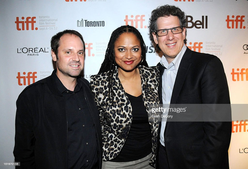 Participant Media Founder <a gi-track='captionPersonalityLinkClicked' href=/galleries/search?phrase=Jeff+Skoll&family=editorial&specificpeople=627495 ng-click='$event.stopPropagation()'>Jeff Skoll</a>, Filmmaker Ava DuVernay and Participant Media CEO James Berk attend 'Middle Of Nowhere' premiere during the 2012 Toronto International Film Festival at the Scotiabank Theatre on September 12, 2012 in Toronto, Canada.