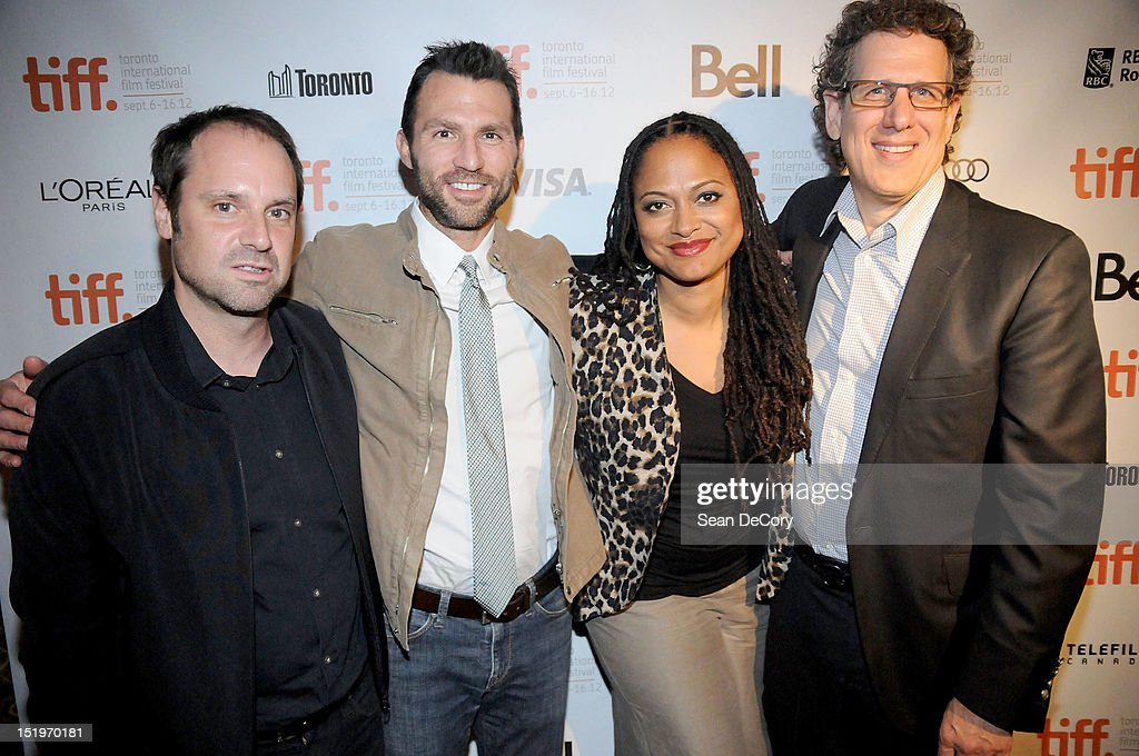 Participant Media Founder <a gi-track='captionPersonalityLinkClicked' href=/galleries/search?phrase=Jeff+Skoll&family=editorial&specificpeople=627495 ng-click='$event.stopPropagation()'>Jeff Skoll</a>, Producer Jonathan King, Filmmaker Ava DuVernay and Participant Media CEO James Berk attend 'Middle Of Nowhere' premiere during the 2012 Toronto International Film Festival at the Scotiabank Theatre on September 12, 2012 in Toronto, Canada.