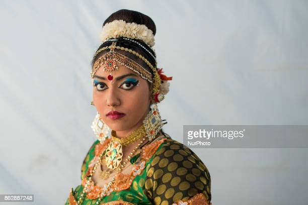 Participant of Diwali celebrations poses for a photo at backstage during the Diwali Celebrations on October 18 2017 at Brickfield In Kuala Lumpur...