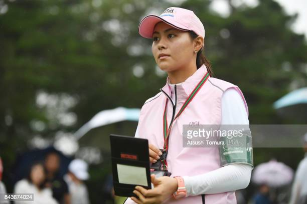 A participant of rookie camp Hina Arakaki of Japan looks on during the first round of the 50th LPGA Championship Konica Minolta Cup 2017 at the Appi...