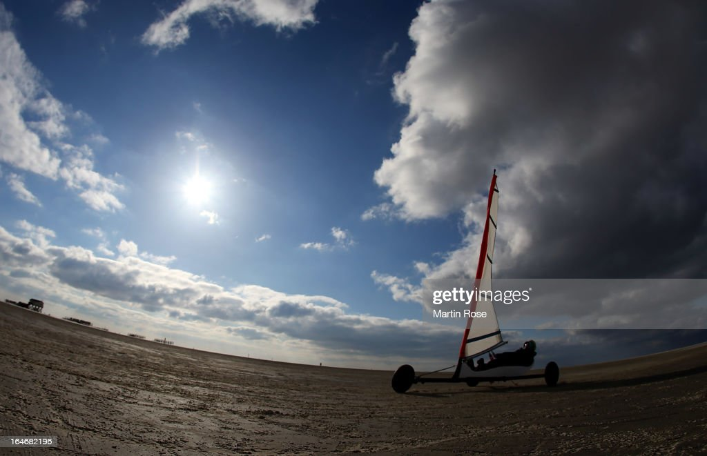 A participant of the beach sailing course in action on March 25, 2013 in Sankt Peter Ording, Germany.