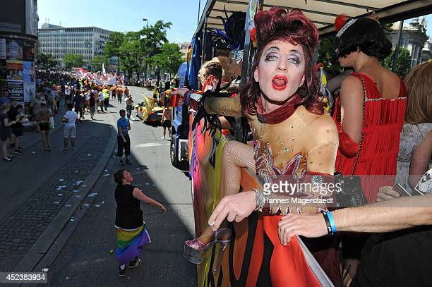 Participant of the Christopher Street Day gay pride parade on July 19 2014 in Munich Germany