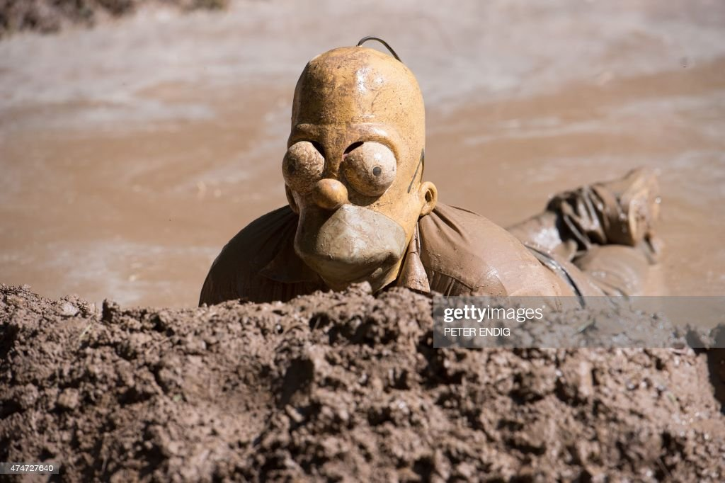 A participant of the traditional dirty pig festival wearing a Homer Spimpson mask wallows in a slough near Hergisdorf Germany on May 25 2015 AFP...